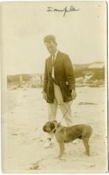 James Montgomery Flagg and dog, Biddeford Pool, circa 1915