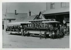 Mousam River Railroad Trolley, Springvale, ca. 1910