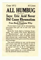 All Humbug, Dr. Clearwater patent medicine advertisement, Hallowell, ca. 1935