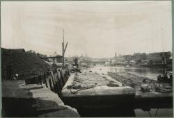 Coal barges at Bragdon's Wharf, Biddeford, ca. 1912