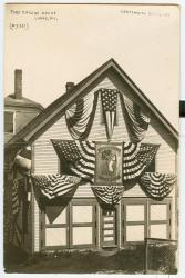 Firehouse decorated for Centennial, Lubec, 1911