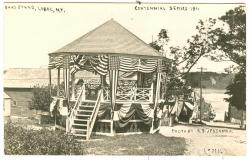 Bandstand with Centennial bunting, Lubec, 1911