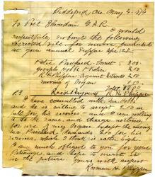 Bill for music performance, Biddeford, 1876
