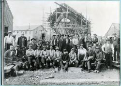 Biddeford Shipbuilding Co. crew in front of  'Jere G. Shaw,' 1918