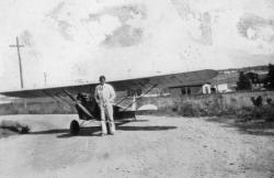 Joseph Snow Sr. and his aeroplane, Scarborough, ca. 1929