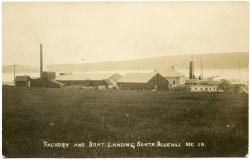 Clam Packing Factory and Steamboat Wharf, South Blue Hill, ca. 1900
