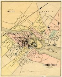 Biddeford and Saco downtowns, ca. 1870