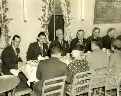 Mayor Louis B. Lausier at a union dinner, Biddeford, 1950