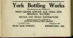 York Bottling Works advertisement, Biddeford, 1920