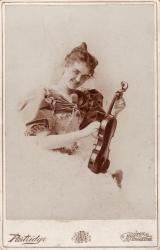 Adelaide Pearson with violin, 1894