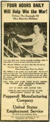 Ad by Pepperell Mills to recruit women workers, Biddeford, 1943