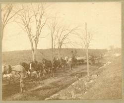 Granite slab in transit, Hallowell, ca. 1900