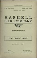 Haskell silk advertisement, Westbrook, ca. 1902