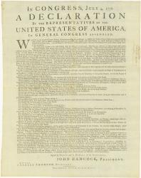 Dunlap Declaration of Independence, 1776
