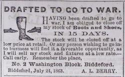 Civil War draftee advertisement, Biddeford, 1863