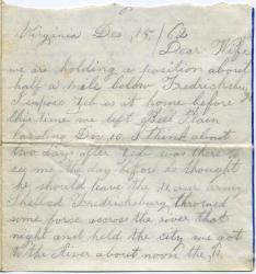 Marshall Phillips letter from Fredricksburg, 1862
