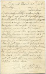 Marshall Phillips to wife, from Virginia, 1864