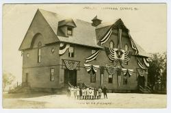 Columbian Hall decorated for the Lubec Centennial, 1911