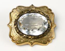 Gold and crystal pin, ca. 1880