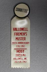 Host Muster Ribbon, Fire Association, Hallowell, July 28, 1962