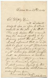 Letter on recruitment issues, Orono, 1861