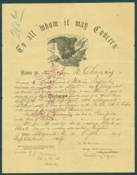 John Channing discharge certificate, Augusta, 1864
