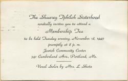 Shaarey Tphiloh Sisterhood tea invitation, Portland, 1947