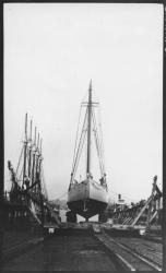Schooner 'Bowdoin' in drydock, South Portland, 1921