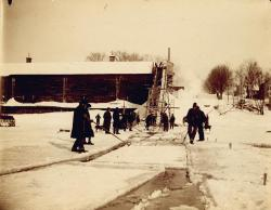 Ice house, Kennebec River, ca. 1900