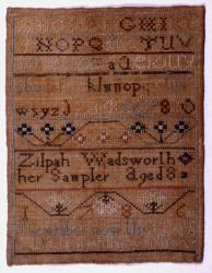 Zilpah Wadsworth sampler, Portland, 1786