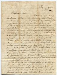 Warren Fowler letter seeking help, 1863