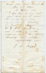 Note concerning box from home, Virginia, 1863