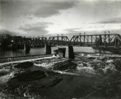 Railroad bridge over the Kennebec River, Waterville and Winslow, ca. 1900