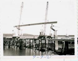 I-beam placement on bridge, Lubec, 1961