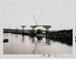Piers under construction for bridge, Lubec, 1961