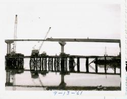 Campobello Roosevelt Bridge construction, Lubec, 1961