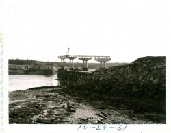 The Narrows and bridge construction, Lubec, 1961