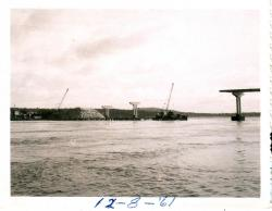 Cranes with pier construction on new bridge, Lubec, 1961