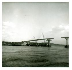 Bridgework almost complete, Lubec, 1962