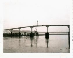 Connecting beams of new bridge, Lubec, 1962