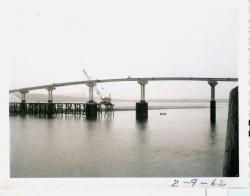 Workmen on bridge, Lubec, 1962