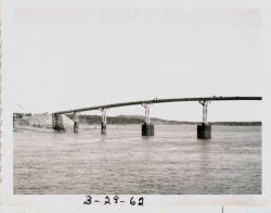 Trestle work completed on bridge, Lubec, 1962