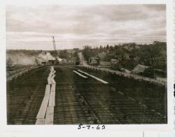 Roadwork on bridge surface, Lubec, 1962
