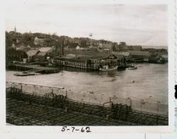 Lubec waterfront from new bridge, 1962