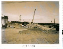 Road construction towards bridge, Lubec, 1962