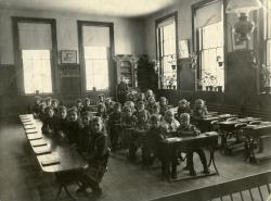 Model classroom, Farmington State Normal School, 1870s