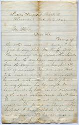 Letter on poor hospital care, Virginia, 1864