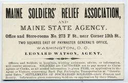 Maine Soldiers' Relief Association card, Washington, ca. 1863