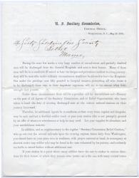 Memo on returning injured soldiers, Washington, 1865