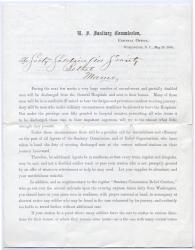 Memo on returning injured soldiers, Washington, 1865